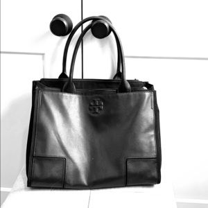 Beautiful black Tory Burch leather/canvas tote